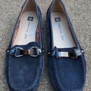 Anne Klein IFlex Navy Blue Suede Loafers Size 8.5M